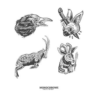 Illustration de tatouages monochromes