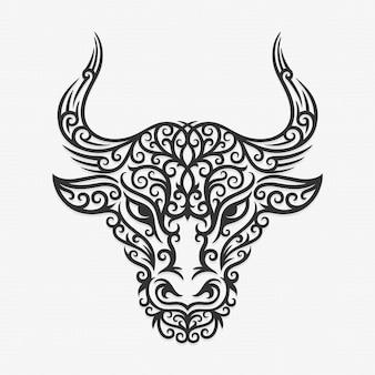 Illustration de taureau ornement de bornéo kalimantan dayak