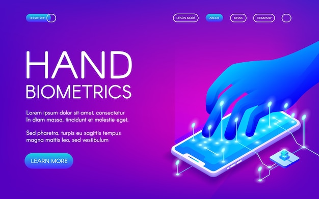 Illustration de la technologie biométrique manuelle de la reconnaissance numérique pour l'identité personnelle.