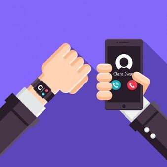 Illustration de technologie de connexion synchronisée smartwatch moderne et smartphone