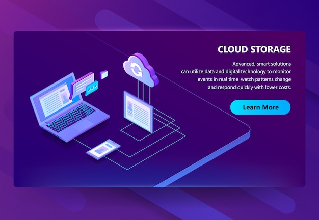 Illustration de la technologie web de stockage en nuage