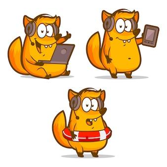 Illustration, téléphone d'assistance technique fox dans une bouée de sauvetage, format eps 10