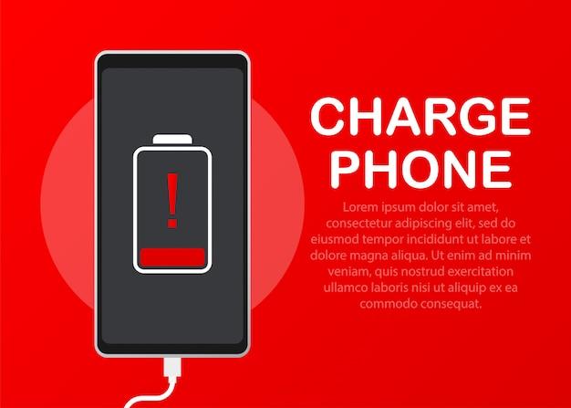 Illustration avec des téléphones portables de charge.