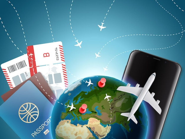 Illustration de temps d'aventure avec la terre. concept de vacances avec accessoires