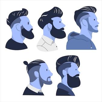 Illustration de tendance de coupe de cheveux homme cool