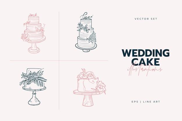 Illustration tendance de gâteau de mariage.