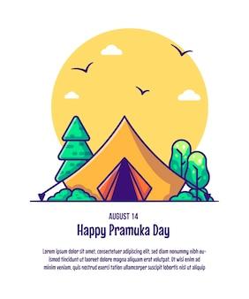 Illustration de la tente scoute. concept d'icône jour pramuka isolé vecteur premium