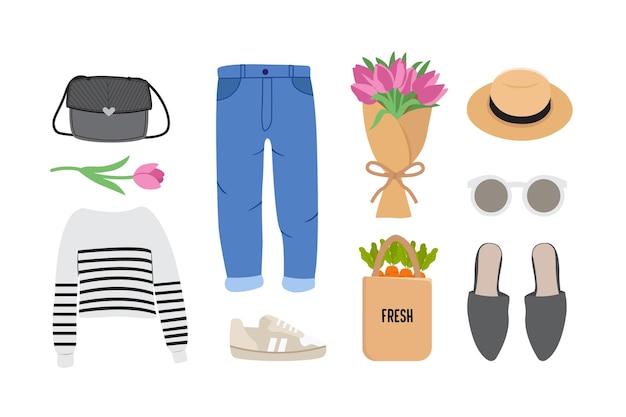 Illustration de la tenue de femme au printemps