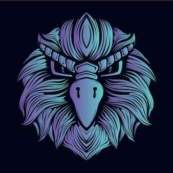 Illustration tête aigle bleu