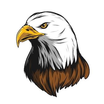 Illustration tête d'aigle avec contour noir