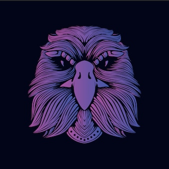 Illustration tête aigle violet