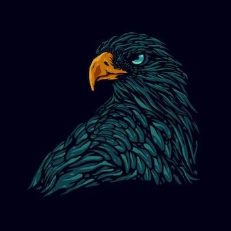 Illustration de tête d'aigle