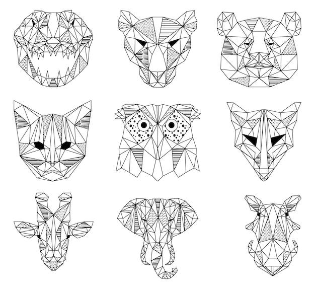 Illustration de tête d'animal géométrique noir et blanc