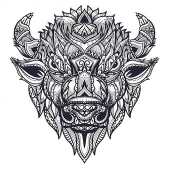 Illustration de tête de bison zentangle dessiné à la main