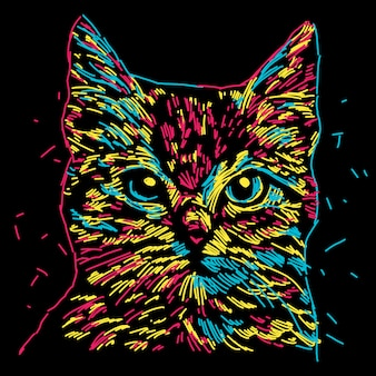 Illustration tête de chat coloré