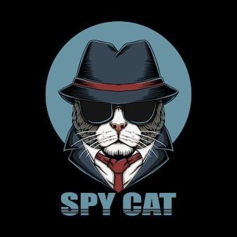 Illustration de tête de chat espion