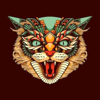 Illustration de tête de chat ethnique