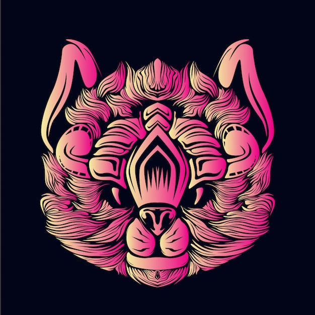 Illustration tête de chat rose