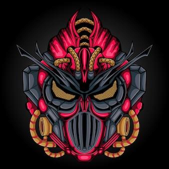 Illustration de tête de chevalier robot