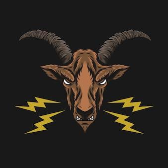 Illustration de tête de chèvre 2 converti