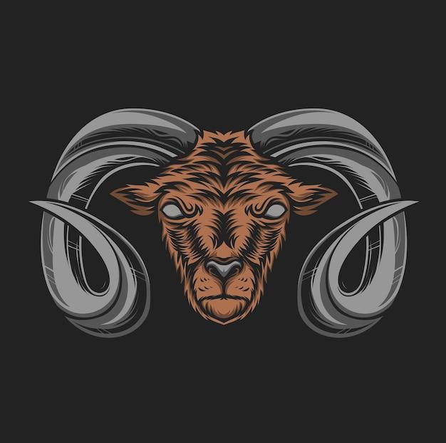 Illustration de tête de chèvre de montagne à cornes