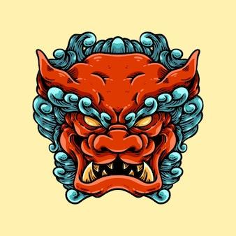 Illustration de tête de chien foo asiatique