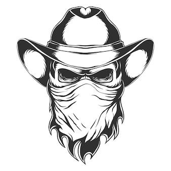 Illustration de tête de cow-boy crâne