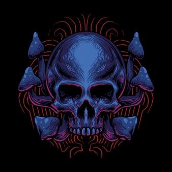 Illustration de tête de crâne de champignon