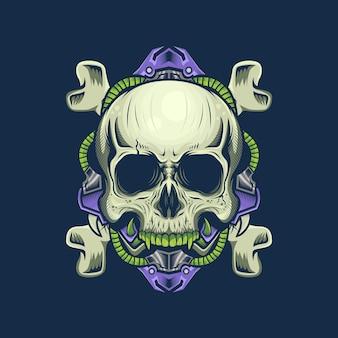 Illustration de la tête de crâne de cyborg et de l'os croisé détaillée
