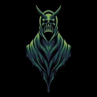 Illustration de tête de crâne de diable