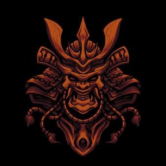 Illustration de tête de crâne de masque de samouraï