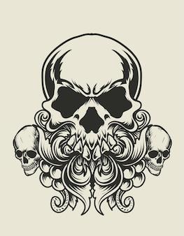 Illustration tête de crâne monochrome avec ornement