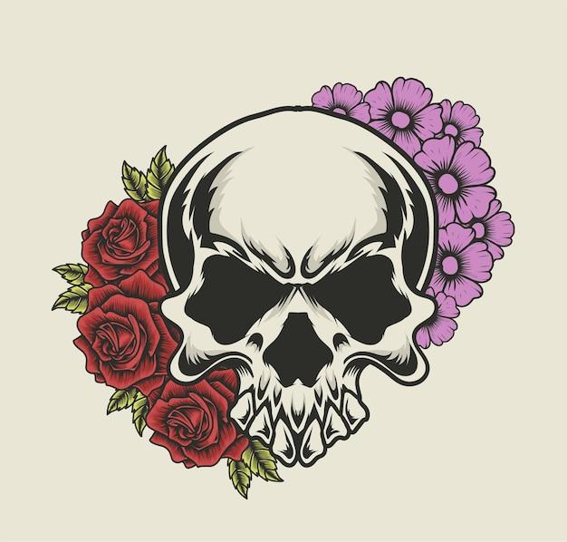 Illustration tête de crâne avec ornement fleur
