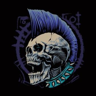 Illustration de tête de crâne punk cri