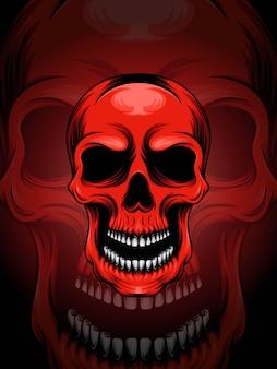 Illustration de tête de crâne rouge