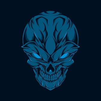 Illustration de tête de crâne souriant bleu