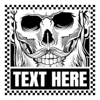 Illustration de tête de crâne de style grunge