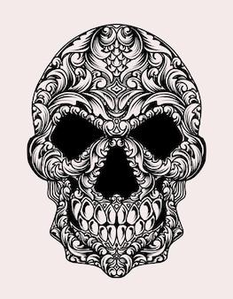 Illustration tête de crâne avec style ornamet