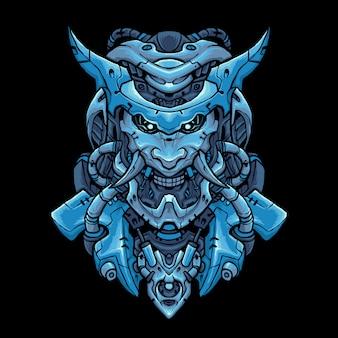 Illustration de tête de cyber oni