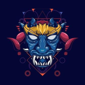Illustration d'une tête de démon à face bleue avec des cornes et des couronnes dorées