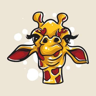 Illustration de tête de dessins animés girafe