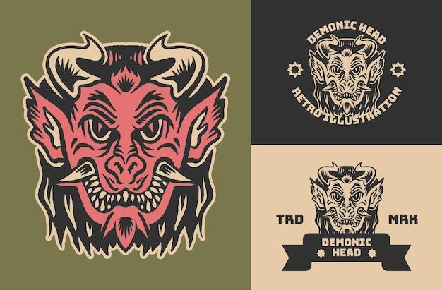 Illustration de tête de diable vintage rétro