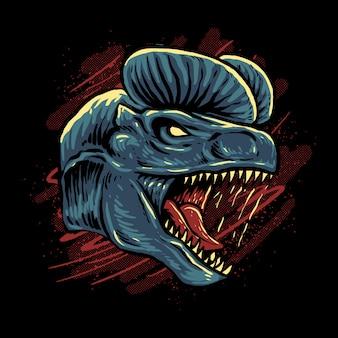 Illustration de tête de dilophosaurus