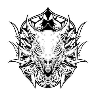 Illustration de la tête de dragon dessiné main noir et blanc