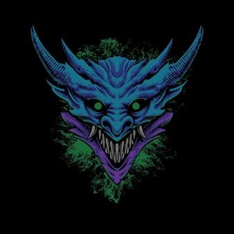 Illustration de tête de dragon monstre