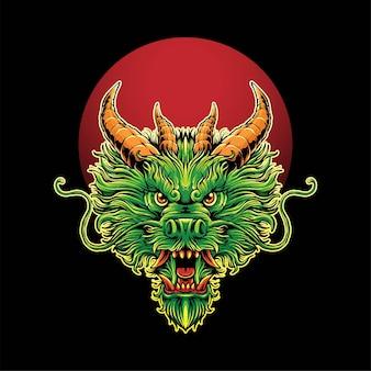 Illustration de tête de dragon, parfaite pour la conception de t-shirts, de vêtements ou de marchandises