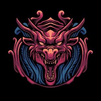 Illustration de tête de dragon rouge