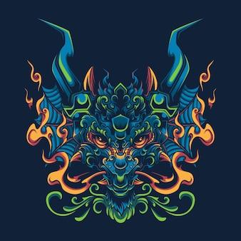 Illustration de tête de dragon vert japonais pour mascotte, logo, conception de t-shirt