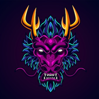 Illustration de tête de dragon
