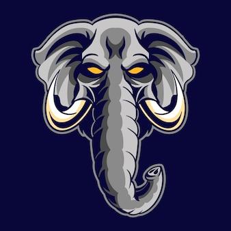 Illustration de tête d'éléphant en colère